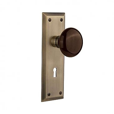 Complete Door Set - Featuring New York Plate with Brown Porcelain Knob