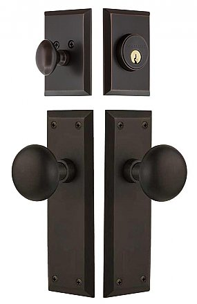 New York Complete Exterior and Interior Handleset With Deadbolt - Multiple Finish and Interior Knob Options