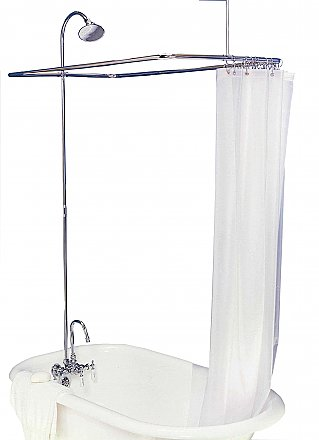 "Solid Brass Leg Tub Shower Enclosure Set, 45"" x 25"" - with Faucet, Riser, & Shower Head - Polished Chrome"