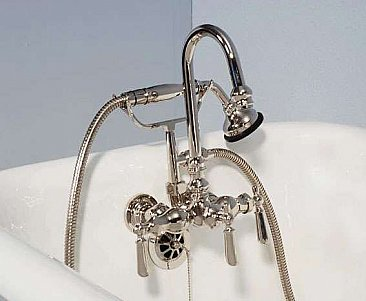 Solid Brass Leg Tub Faucet - Multiple Finishes with Hand Shower