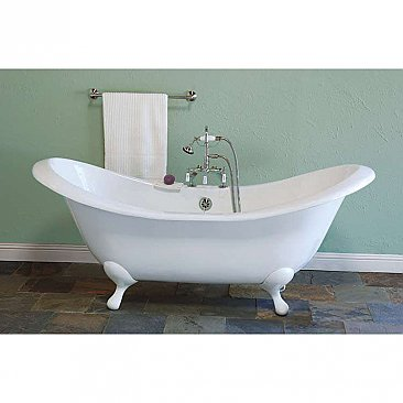 "The Alpine 6' Acrylic Double-Ended Clawfoot Slipper Bathtub - 7"" Center Deck Mount Holes"