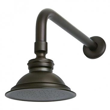 "Victorian Brass Showerhead with 12"" Shower Arm Combo, Oil Rubbed Bronze"