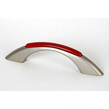 Retro Cabinet Pull - Candy Red and Brushed Nickel - 3 inches on center