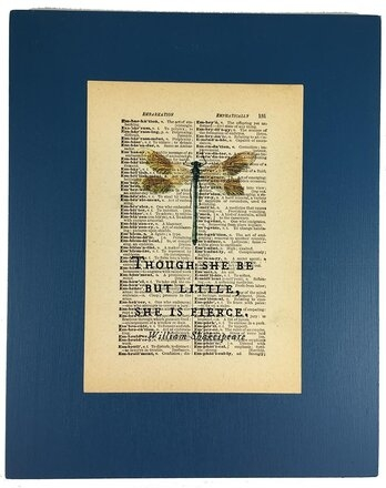 Repurposed Antique Dictionary Page Wall Decor - Dragonfly - William Shakespeare - Though She Be But Little She Is Fierce
