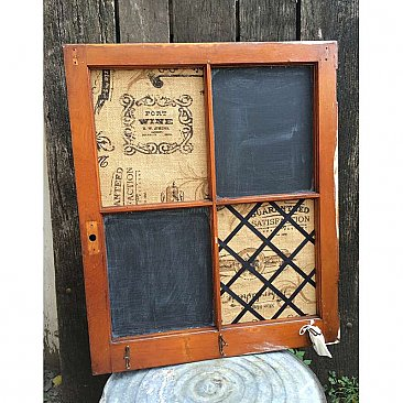 """Sophronia"" Repurposed Antique Window / Message Board - Chalkboard, Bulletin Board, Coat Tree"