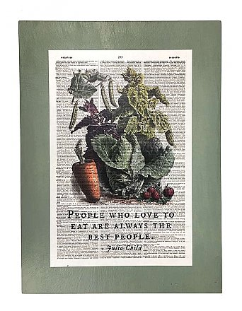 Repurposed Antique Dictionary Page Wall Decor - Vegetables - Julia Child - People Who Love to Eat