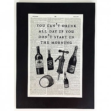 Repurposed Antique Dictionary Page Wall Decor  - You Can't Drink All Day