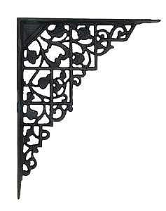 Black Cast Iron Trellis Design Shelf Bracket Pair