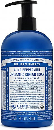 Dr. Bronner's Organic Peppermint Sugar Soap Liquid Soap With Pump