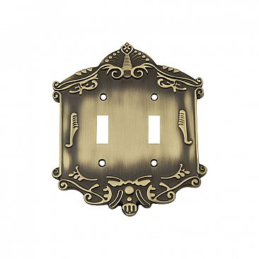 Solid Brass Victorian Switchplate - Antique Brass - Double Toggle