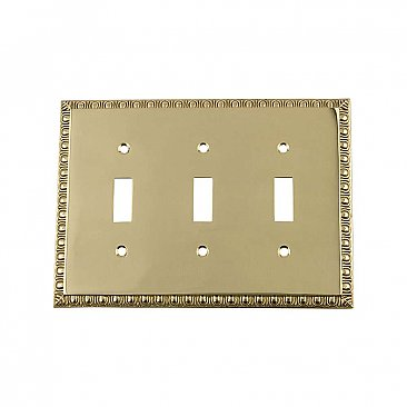 Solid Brass Egg & Dart Switchplate - Unlacquered Polished Brass - Triple Toggle