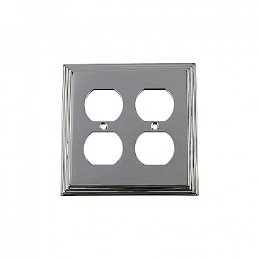 Solid Brass Deco Switchplate - Bright Chrome - Double Duplex