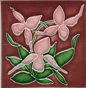 Art Tile, Art Nouveau Flowers, Pink and Green on Red