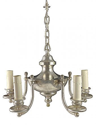 Antique Silverplate 5-Arm Ceiling Light Fixture - Circa 1910
