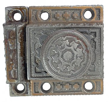 Antique Aesthetic Cast Iron Victorian Cabinet Latch & Keeper - Circa 1880
