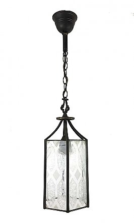 Antique Clear and Etched Glass Lantern Ceiling Light Fixture