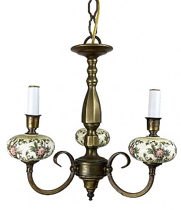 Three Arm Antique Brass Ceiling Light Fixture - Circa 1990