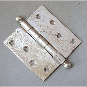 "Antique Steel Hinge, Ball Tip, Brushed Chrome Plate, Rough, 4-1/2"" x 4-1/2"""