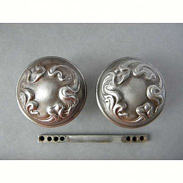 "Antique Wrought Steel Art Nouveau Steel Door Knob Pair in ""Alby"" Design by Sargent & Co. - Circa 1901"