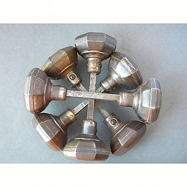 "Antique Octagon Wrought Steel Door Knob Pair in ""Octo"" Design by Russell & Erwin - Circa 1910"