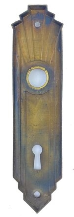 "Antique Wrought Brass Art Deco ""Style M"" Design Door Plate by J. Chesler & Sons - Circa 1937"