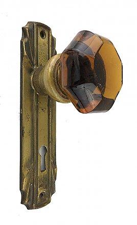 Back Plates LOCK ANTIQUE ART DECO JUMBO CRYSTAL CUT GLASS BRASS DOOR KNOBS