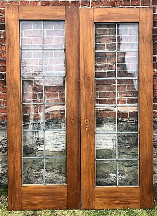 Antique Pair of Leaded Glass Gumwood French Doors