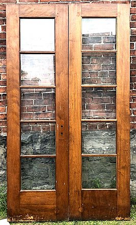 Antique Pair of Pine French Doors