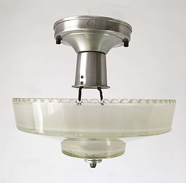 Antique Art Deco Semi-Flush Light Fixture with White Frosted Shade
