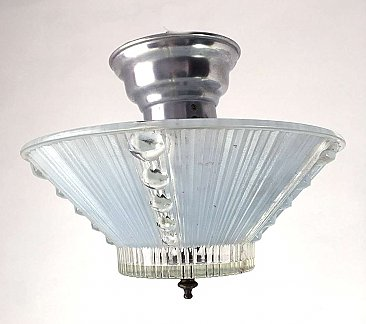 Antique Art Deco Semi-Flush Light Fixture with Blue Shade