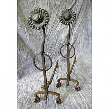 Pair of Antique Sunflower Andirons