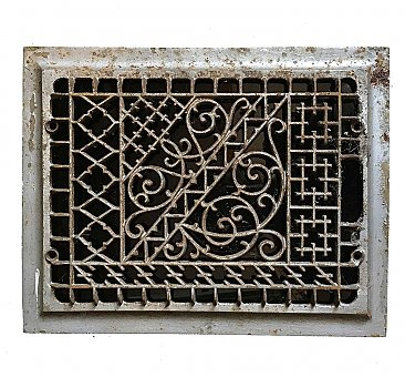"Antique Cast Iron Heat Grate Register Grille - 13-3/4"" x 10-3/4"""