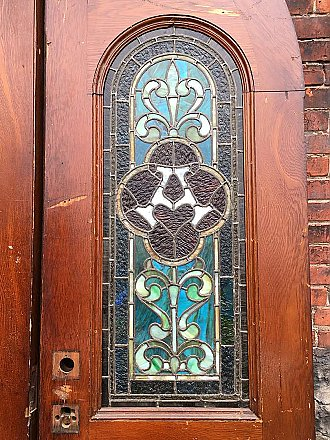 Antique Large Pair of Oak Stain Glass Gothic Doors