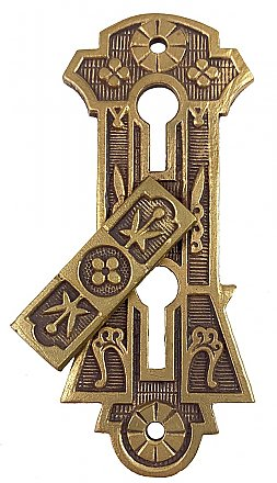Antique Cast Brass Swinging Double Keyhole Escutcheon or Cover by Sargent & Co. - Circa 1888