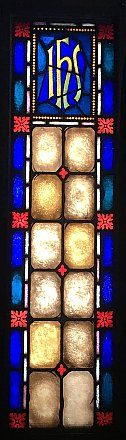 Antique Ecclesiastic Stained Glass Window Sash Circa 1880 - Blue, Red, Yellow - IHS