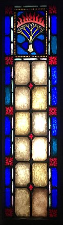 Antique Ecclesiastic Stained Glass Window Sash Circa 1880 - Blue, Red, Yellow - Burning Bush