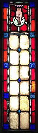 Antique Ecclesiastic Stained Glass Window Sash Circa 1880 - Blue, Red, Yellow - Hand of God