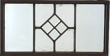 Circa 1880 Queen Anne Antique Leaded Glass Window with Four Beveled Diamond  in the Center