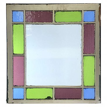 Circa 1880 Antique Stained Glass Queen Anne Cottage Window