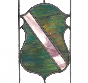 Antique Art Deco Stained Glass Window With Green Slag Glass and Shield Motif