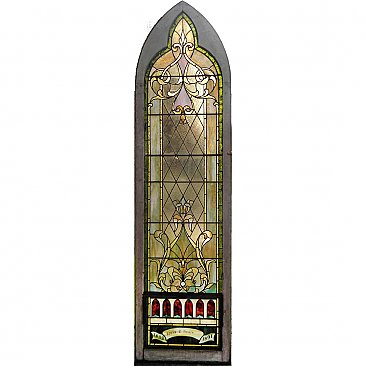 Antique Arched Stained Glass Church Window