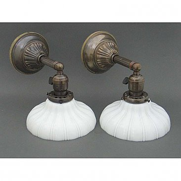 Antique Wall Sconce Pair  - Sheffield Shades