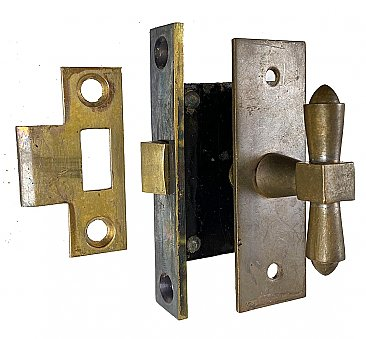 Antique Cast Bronze Casement Window Sash Mortise Lock Set- Circa 1910