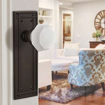Complete Door Hardware Set - with Mission Plate with Waldorf White Milk Glass Crystal Knob