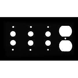 Matte Black Stamped Triple Pushbutton / Single Duplex Switchplate / Cover Plate