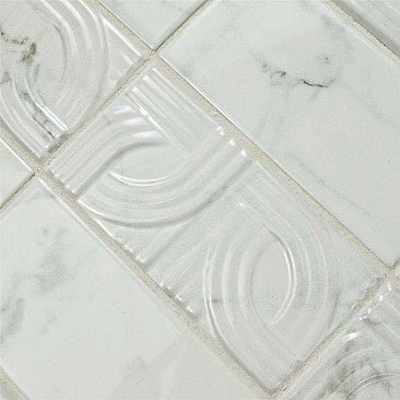 "Classico Carrara Glossy Metropolis 3"" x 6"" Ceramic White Tile - Sold Per Case of 8  - 1 Square Feet Per Case"