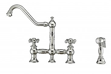 Vintage III Plus Bridge Faucet with Swivel Spout, Cross Handles and Solid Brass Side Spray - Chrome Finish