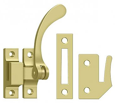 Solid Brass Rat Tail Casement Window or Cabinet Latch