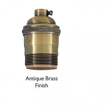 Heavy Turned Solid Brass Lamp Socket with Keyless Interior, UNO Thread